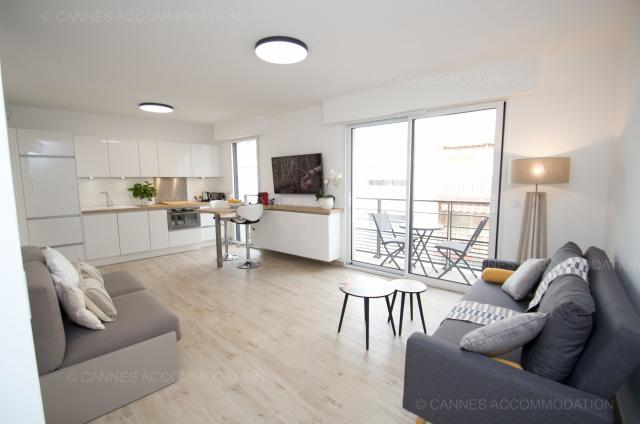 Location appartement Cannes Lions 2020 J -154 - Hall â?? living-room - Carre bulles